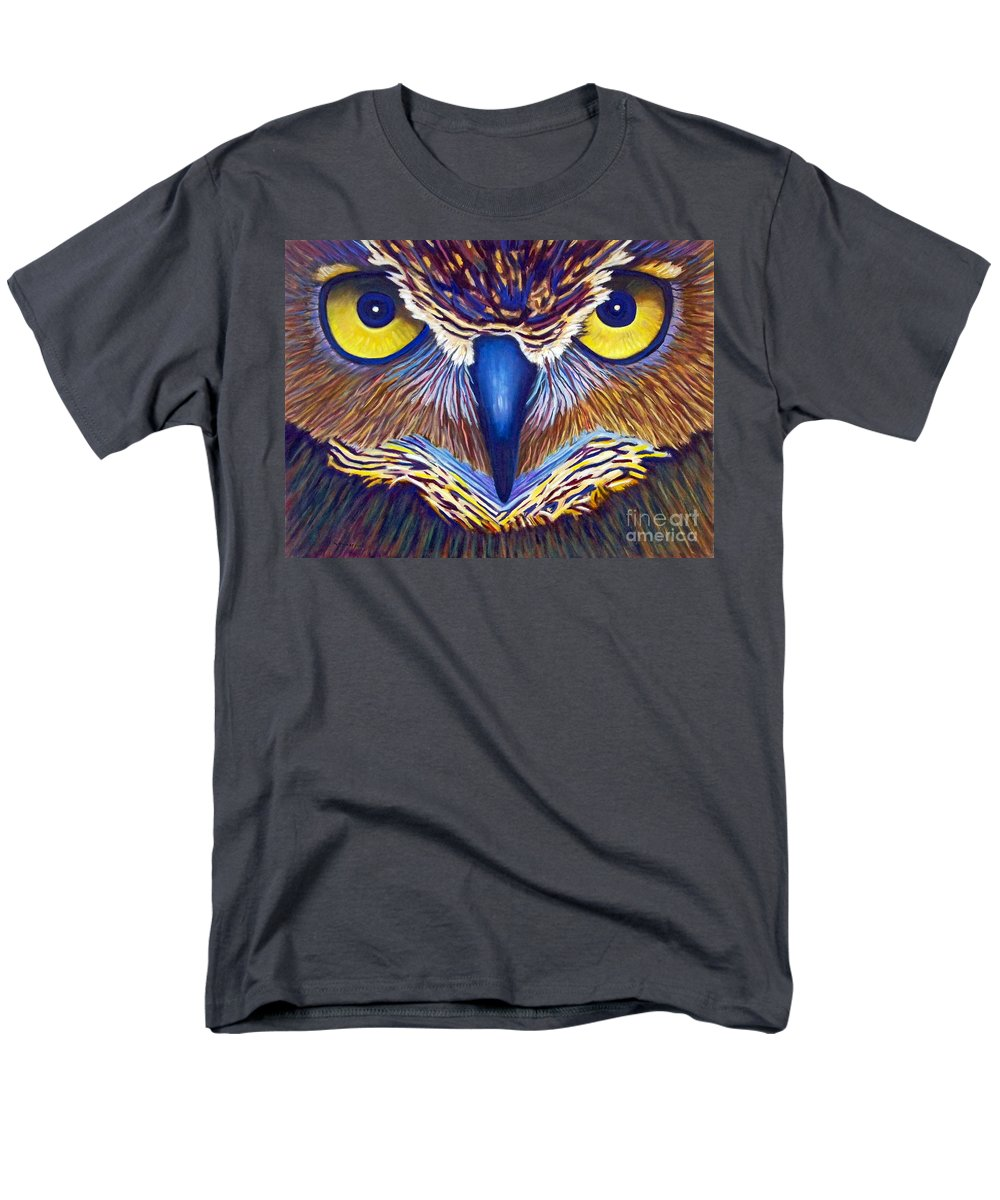 Owl Men's T-Shirt (Regular Fit) featuring the painting Watching by Brian Commerford