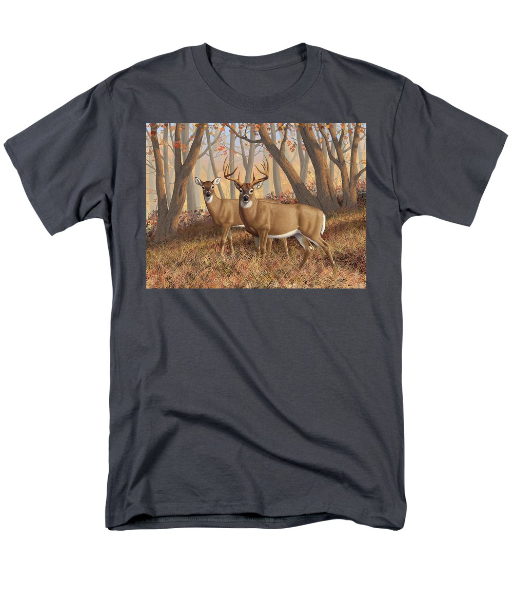Deers Men's T-Shirt (Regular Fit) featuring the digital art Whitetail Deer Painting - Fall Flame by Crista Forest