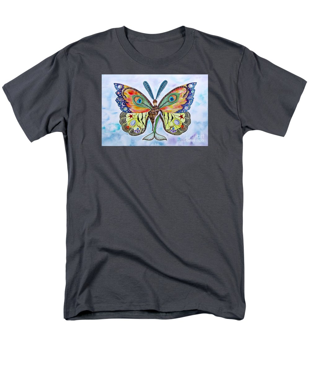 Butterfly Men's T-Shirt (Regular Fit) featuring the painting Winged Metamorphosis by Lucy Arnold