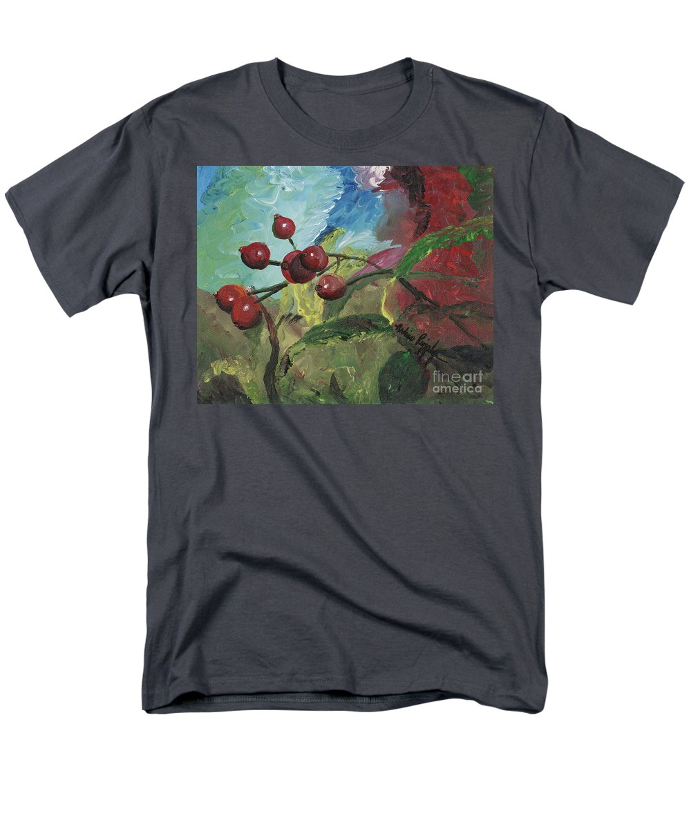 Berries Men's T-Shirt (Regular Fit) featuring the painting Winter Berries by Nadine Rippelmeyer