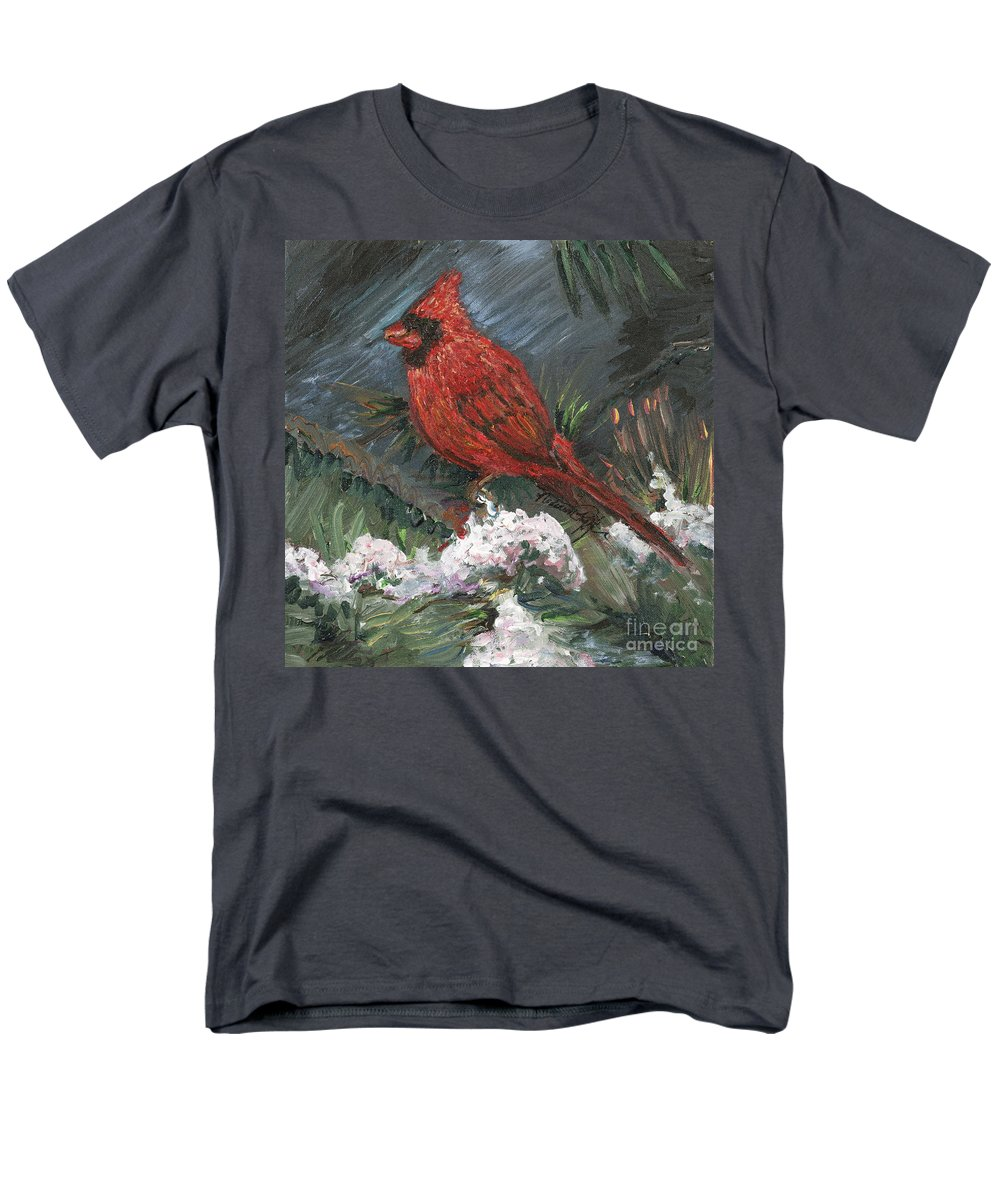 Bird Men's T-Shirt (Regular Fit) featuring the painting Winter Cardinal by Nadine Rippelmeyer