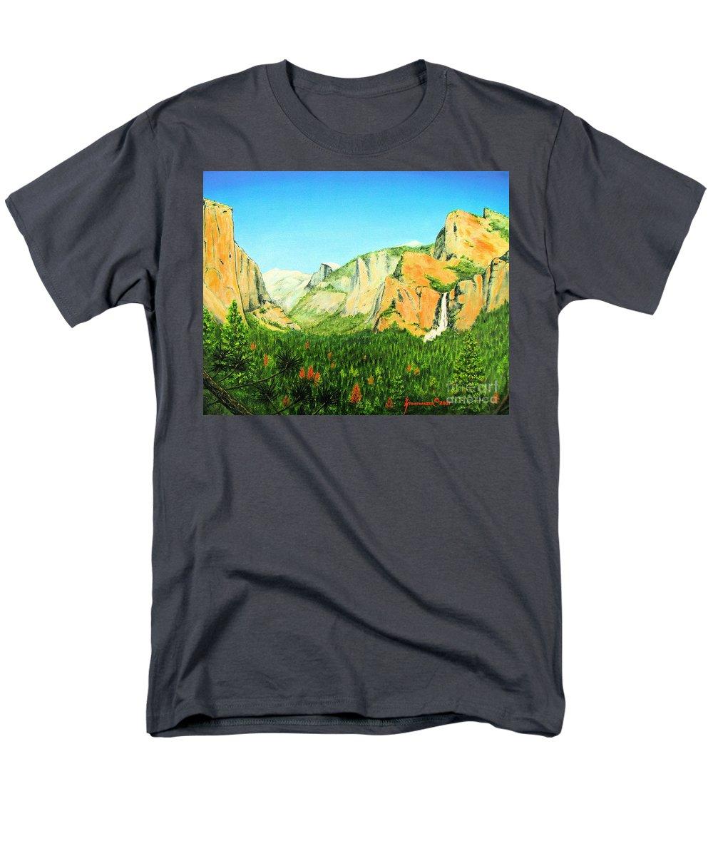 Yosemite National Park Men's T-Shirt (Regular Fit) featuring the painting Yosemite National Park by Jerome Stumphauzer