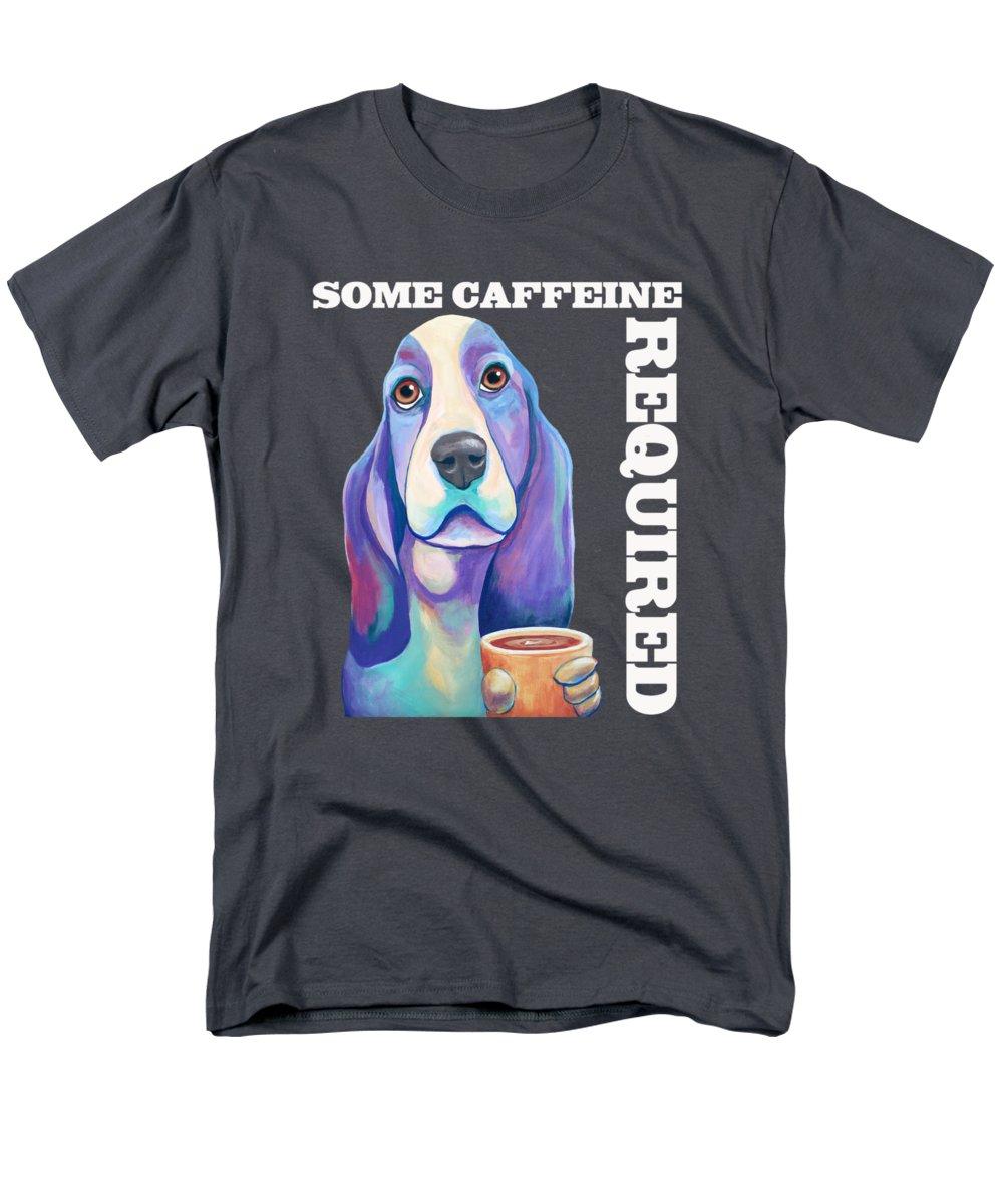 Coffee Hound Men's T-Shirt (Regular Fit) featuring the painting Coffee Hound Knows That Some Caffeine Is Required by Jody Wright