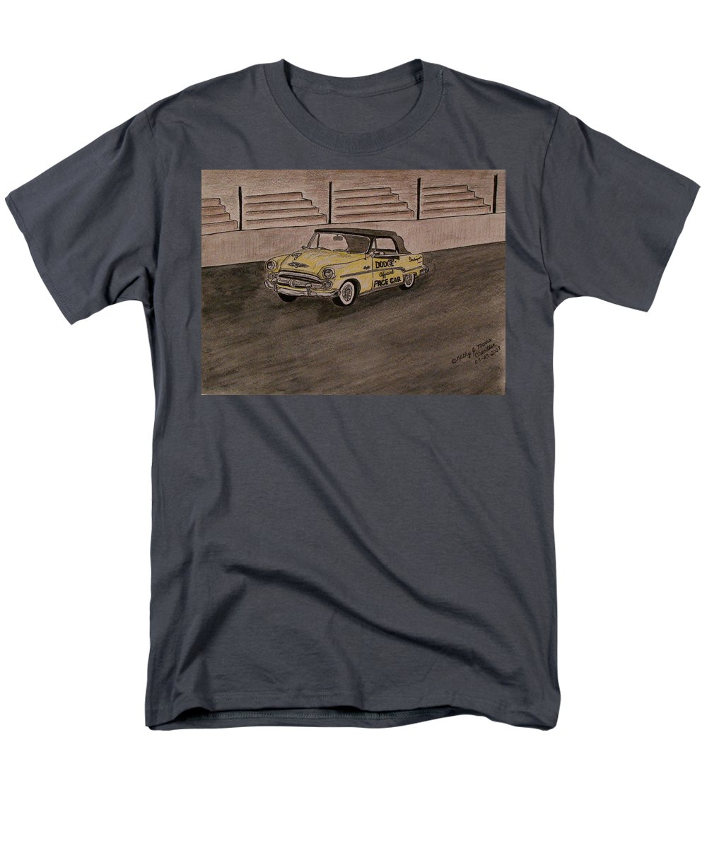 1954 Dodge Men's T-Shirt (Regular Fit) featuring the painting 1954 Dodge Indy 500 Pace Car by Kathy Marrs Chandler