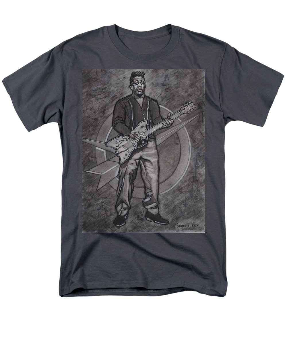 Texas Men's T-Shirt (Regular Fit) featuring the drawing Bo Diddley - Have Guitar Will Travel by Sean Connolly