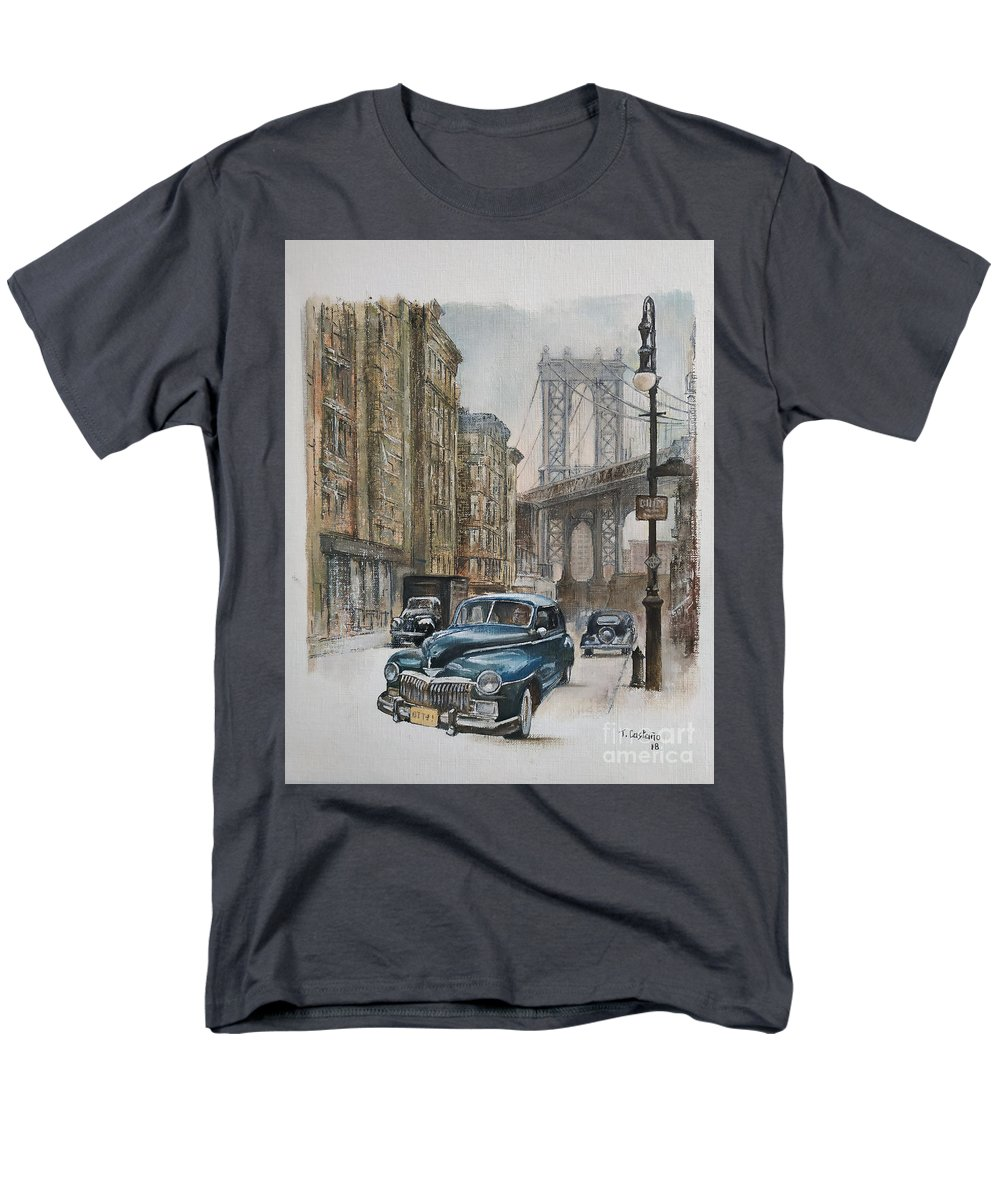 Blue Car Men's T-Shirt (Regular Fit) featuring the painting Brooklyn bridge by Tomas Castano