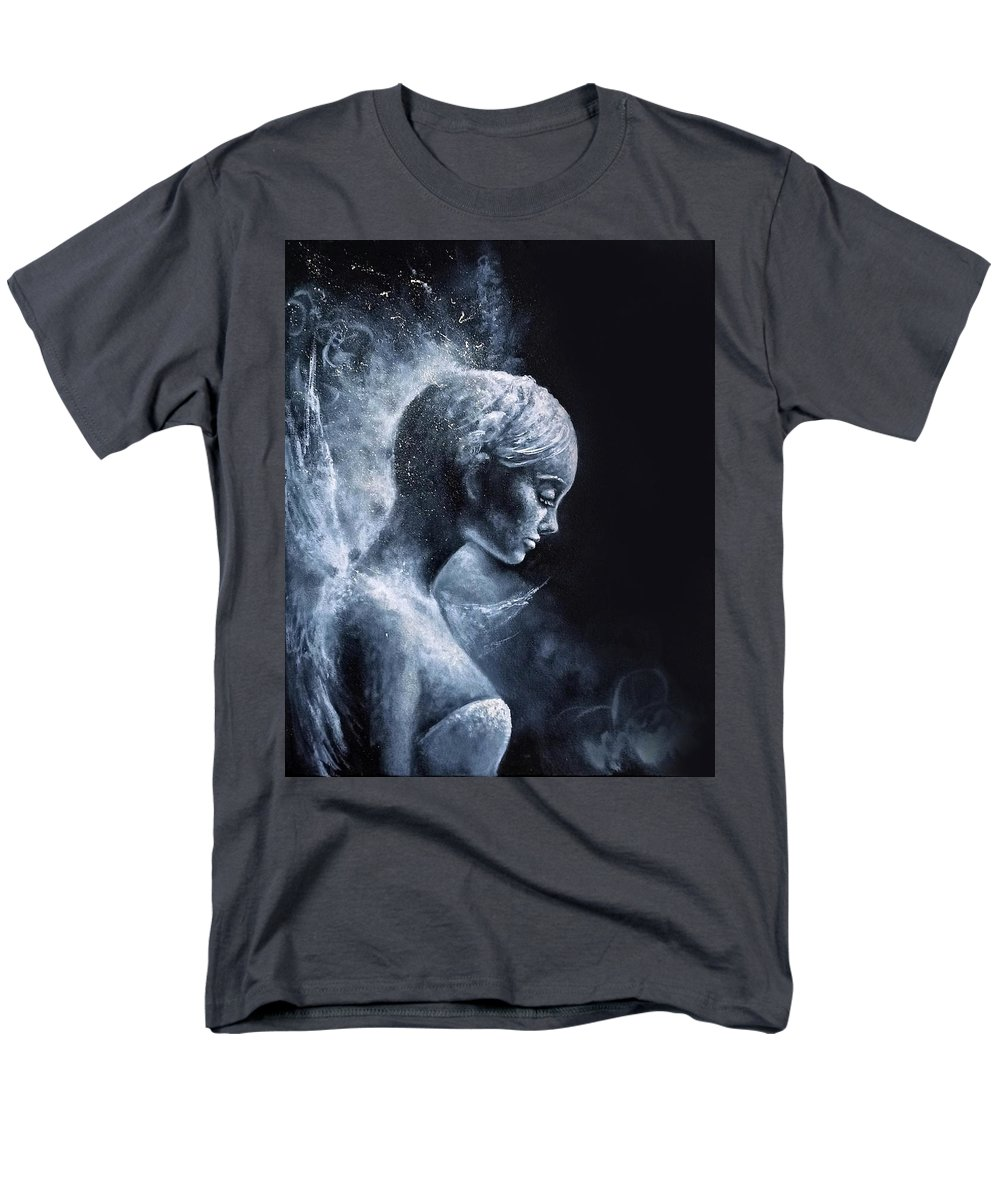 Angel Men's T-Shirt (Regular Fit) featuring the painting Angel Black and White by Natalja Picugina