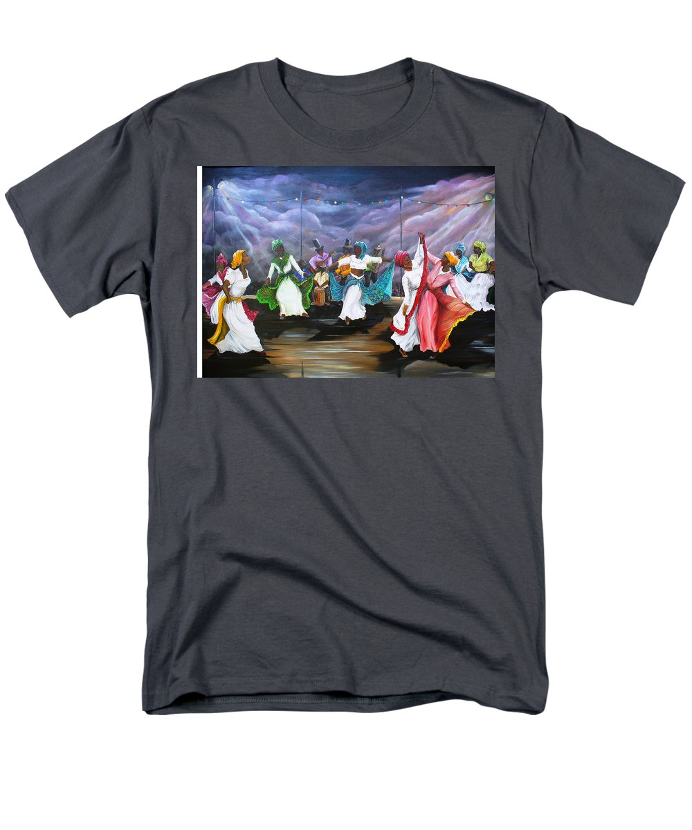 Caribbean Painting Original Painting Folklore Dance Painting Trinidad And Tobago Painting Dance Painting Tropical Painting Men's T-Shirt (Regular Fit) featuring the painting Dance The Pique by Karin Dawn Kelshall- Best