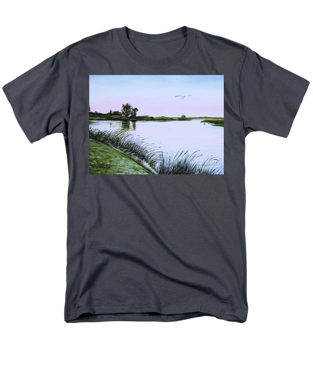 Landscape Men's T-Shirt (Regular Fit) featuring the painting Delta at Dusk by Elizabeth Robinette Tyndall