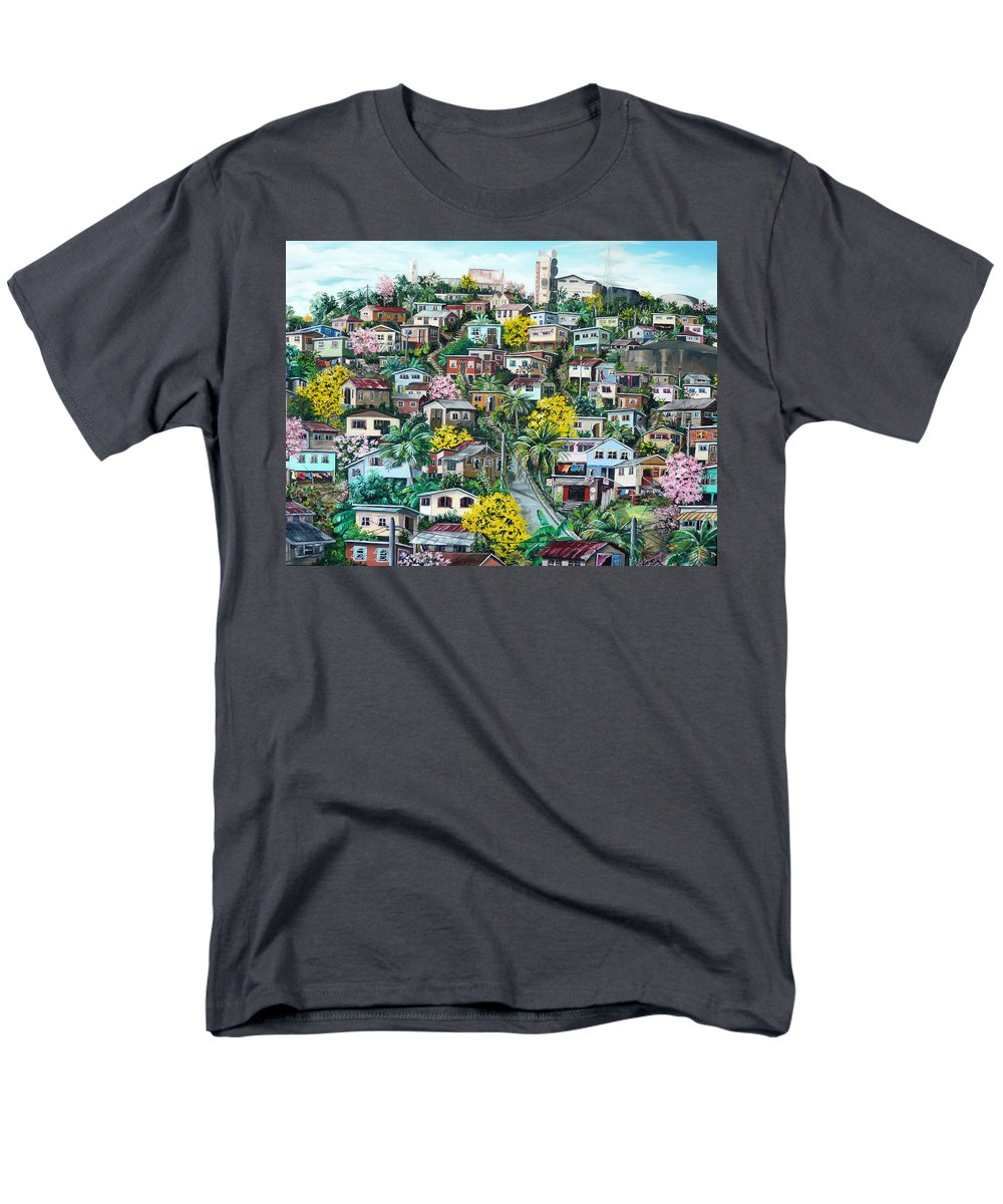 Landscape Painting Cityscape Painting Original Oil Painting  Blossoming Poui Tree Painting Lavantille Hill Trinidad And Tobago Painting Caribbean Painting Tropical Painting Men's T-Shirt (Regular Fit) featuring the painting Poui On The Hill by Karin Dawn Kelshall- Best
