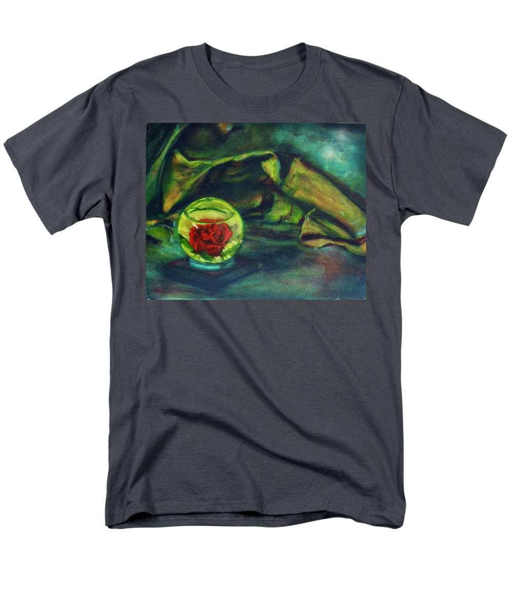 Oil Painting On Canvas Men's T-Shirt (Regular Fit) featuring the painting Preserved Rose . . Draped Canvas by Sean Connolly