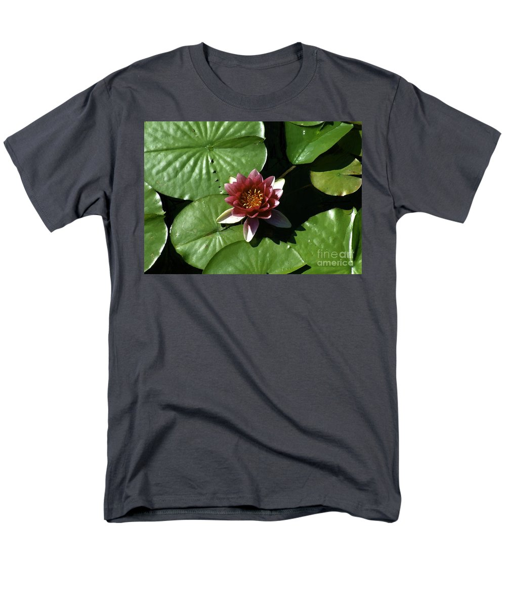 Water Lily Men's T-Shirt (Regular Fit) featuring the painting Silk and Leather by RC DeWinter
