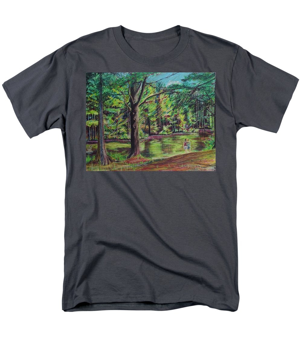Family Men's T-Shirt (Regular Fit) featuring the pastel Sisters At Wason Pond by Sean Connolly