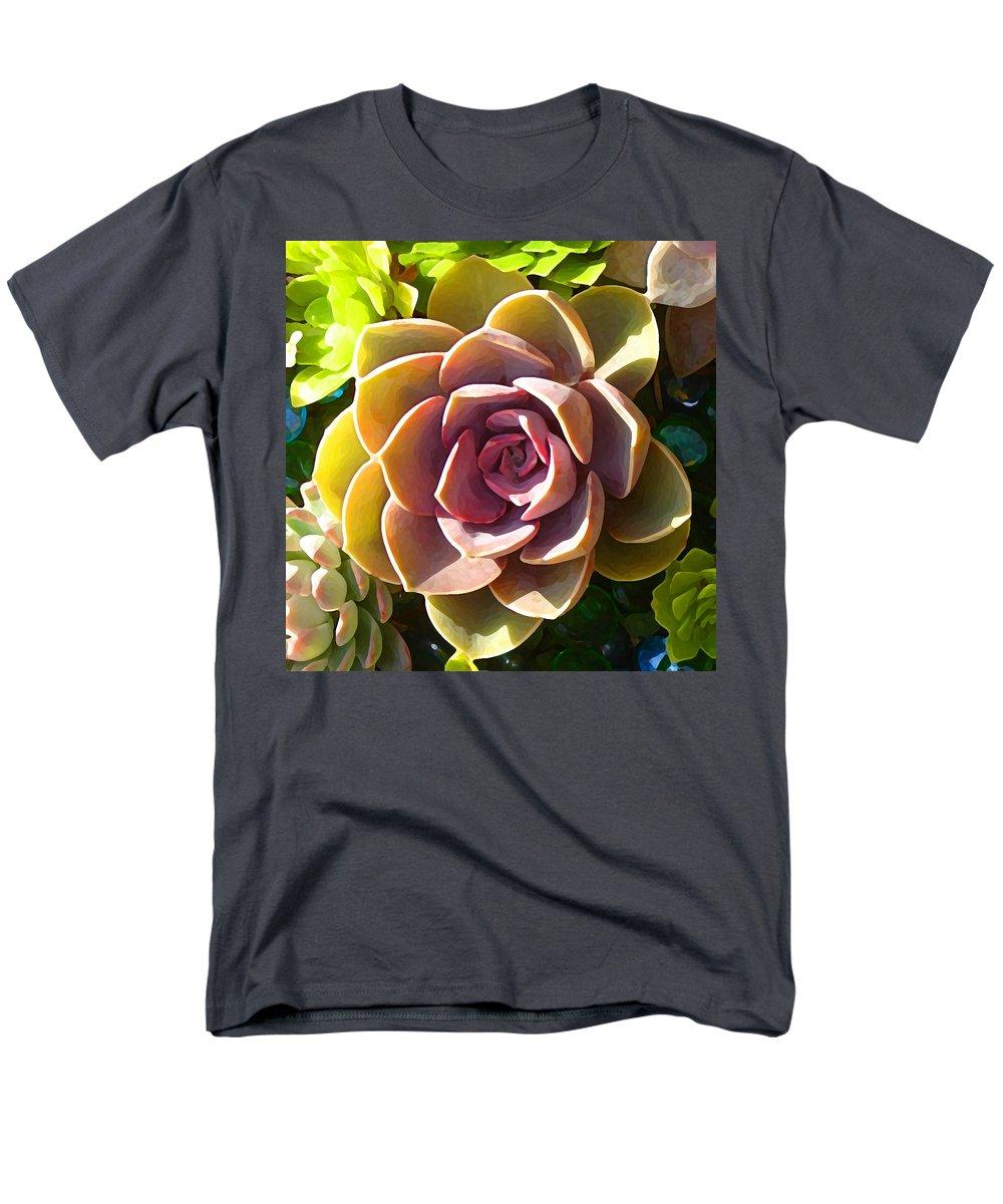 Succulent Men's T-Shirt (Regular Fit) featuring the photograph Succulent Pond 5 by Amy Vangsgard