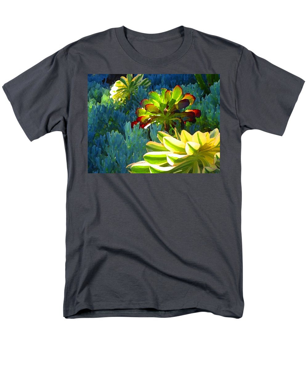 Succulent Men's T-Shirt (Regular Fit) featuring the painting Succulents Backlit on Blue 2 by Amy Vangsgard
