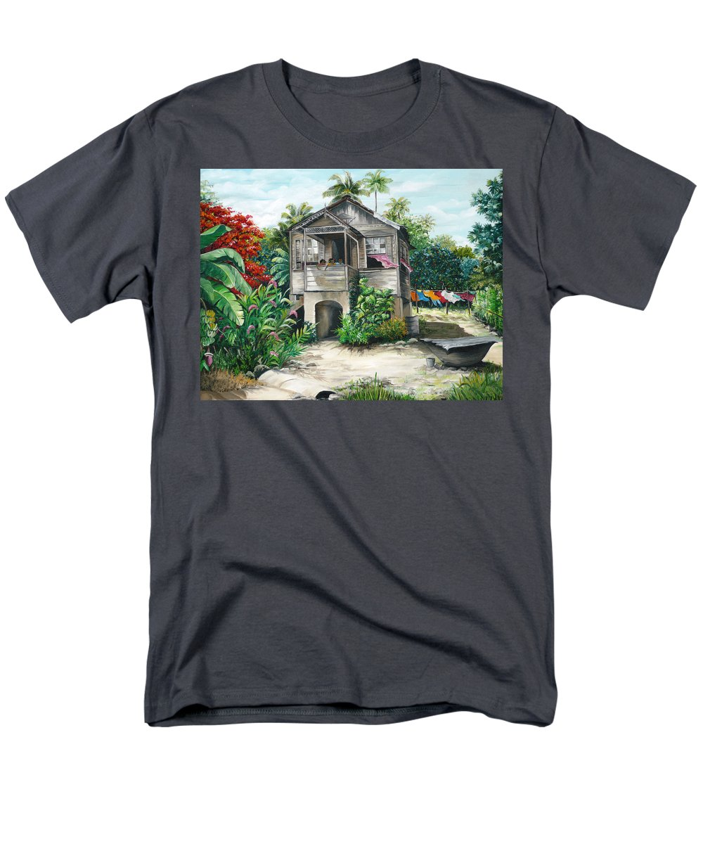 Landscape Painting Caribbean Painting House Painting Tobago Painting Trinidad Painting Tropical Painting Flamboyant Painting Banana Painting Trees Painting Original Painting Of Typical Country House In Trinidad And Tobago Men's T-Shirt (Regular Fit) featuring the painting Sweet Island Life by Karin Dawn Kelshall- Best