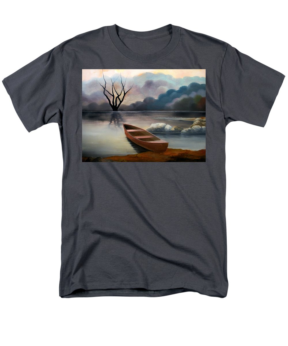 Duck Men's T-Shirt (Regular Fit) featuring the painting Tranquility by Sergey Bezhinets