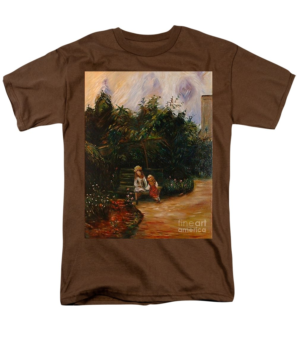 Classic Art Men's T-Shirt (Regular Fit) featuring the painting A Corner of the Garden at the Hermitage by Silvana Abel