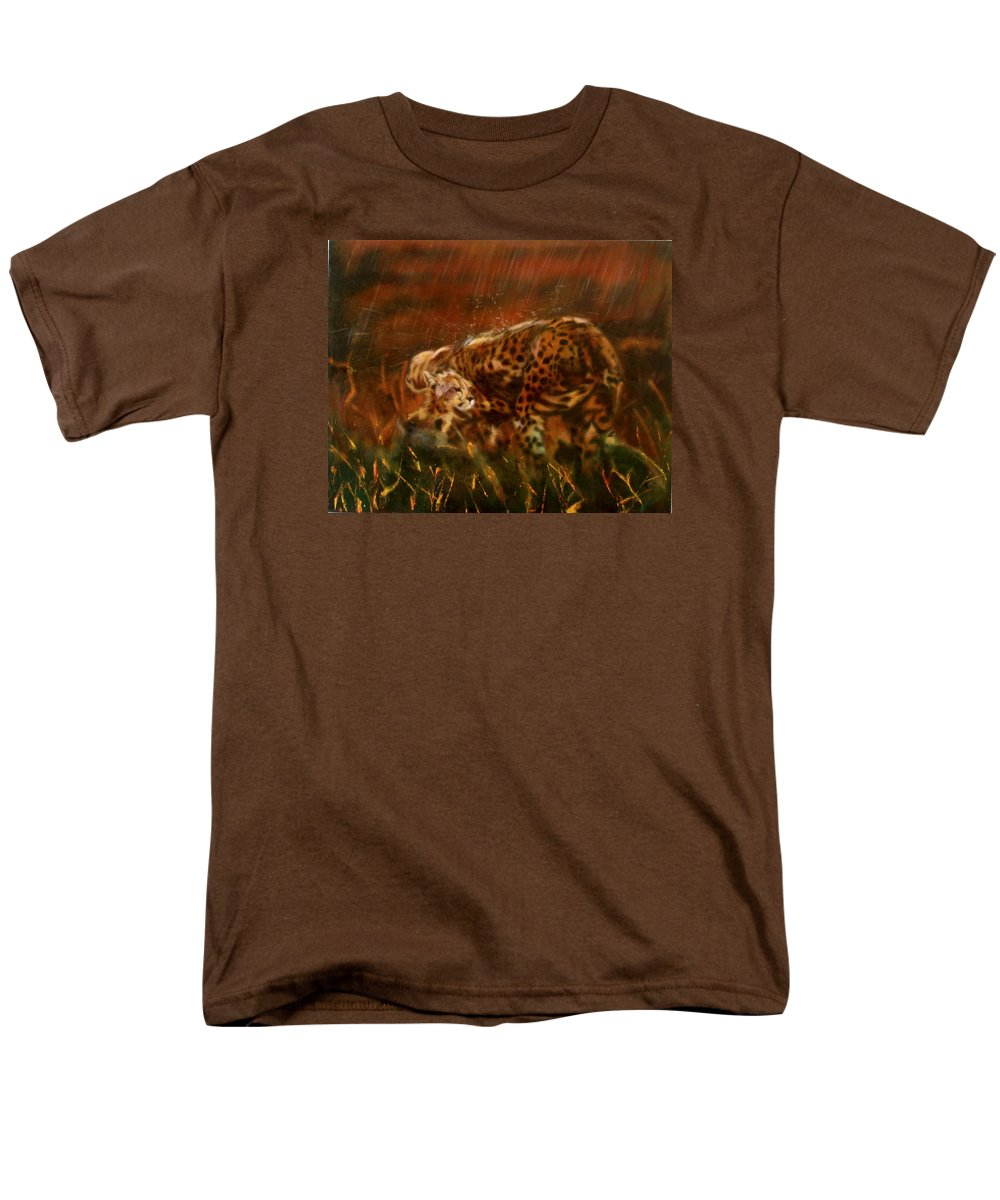 Rain;water;cats;africa;wildlife;animals;mother;shelter;brush;bush Men's T-Shirt (Regular Fit) featuring the painting Cheetah Family After The Rains by Sean Connolly