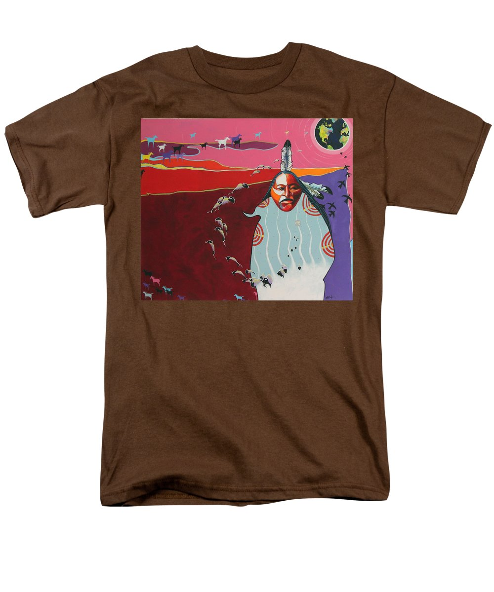 Native American Men's T-Shirt (Regular Fit) featuring the painting Creation by Joe Triano