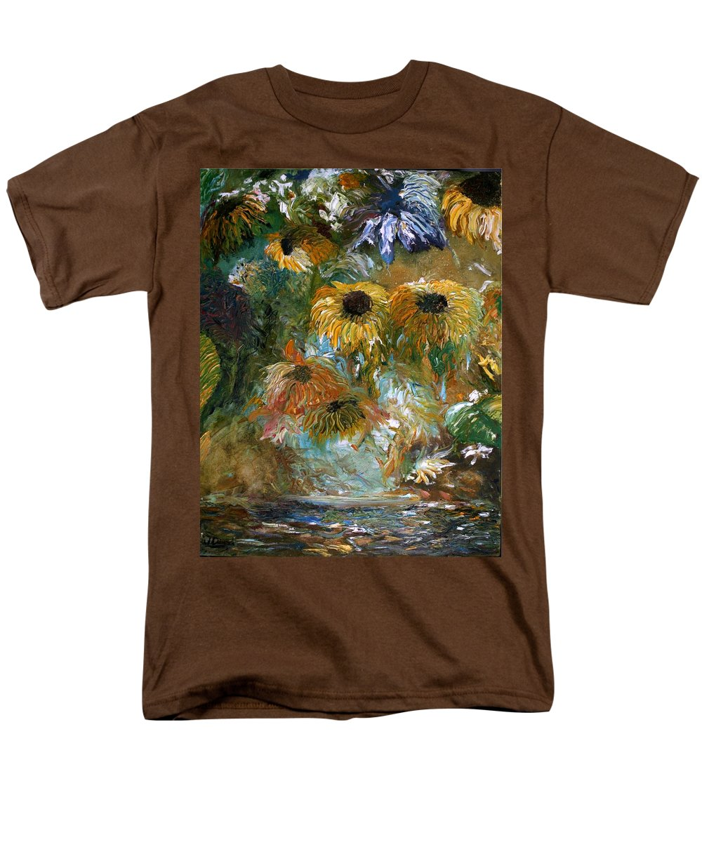 Oil Painting Men's T-Shirt (Regular Fit) featuring the painting Flower Rain by Jack Diamond