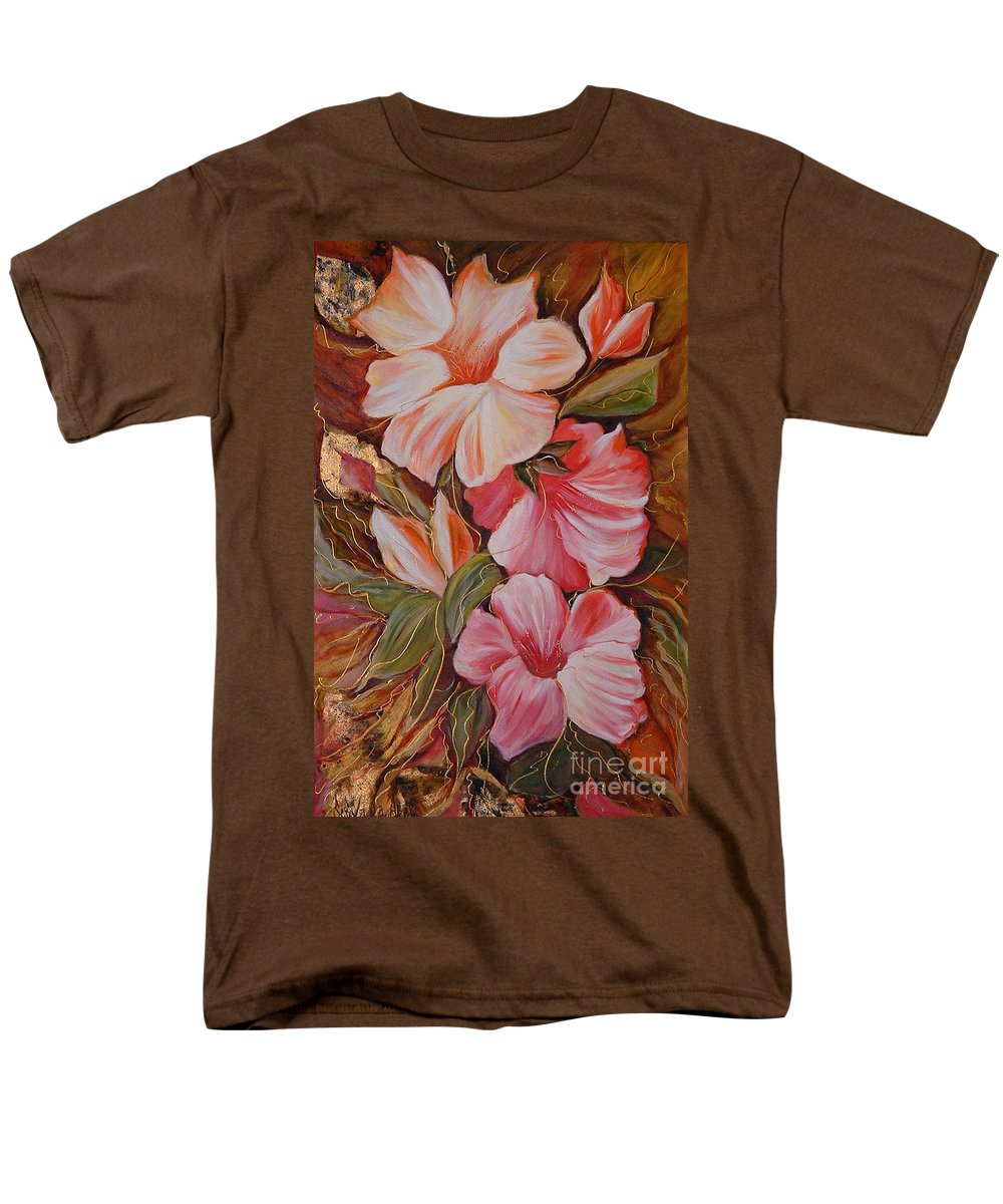 Abstract Men's T-Shirt (Regular Fit) featuring the painting Flowers II by Silvana Abel