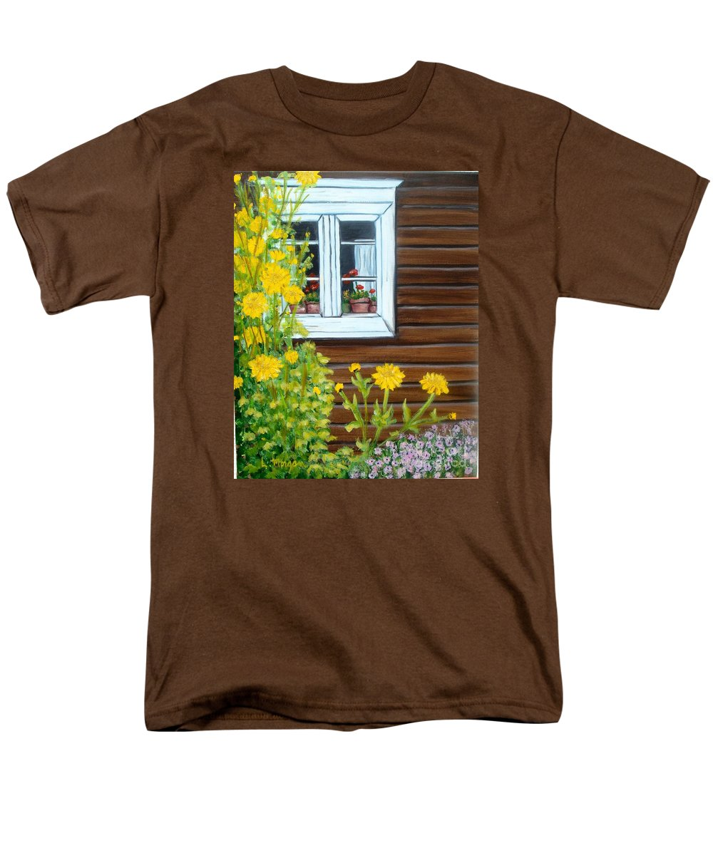Window Men's T-Shirt (Regular Fit) featuring the painting Happy Homestead by Laurie Morgan