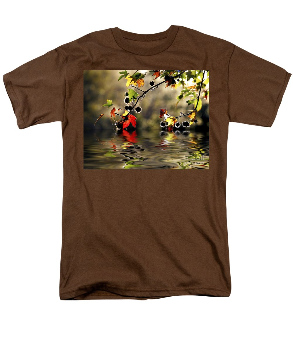 Liquidambar Maple Autumn Fall Flood Water Reflection Men's T-Shirt (Regular Fit) featuring the photograph Liquidambar In Flood by Avalon Fine Art Photography