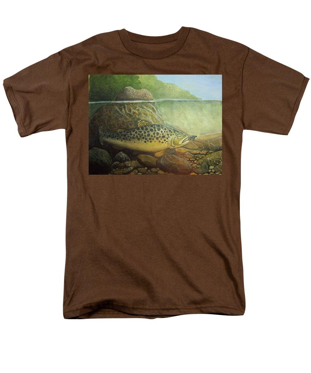 Rick Huotari Men's T-Shirt (Regular Fit) featuring the painting Lurking by Rick Huotari