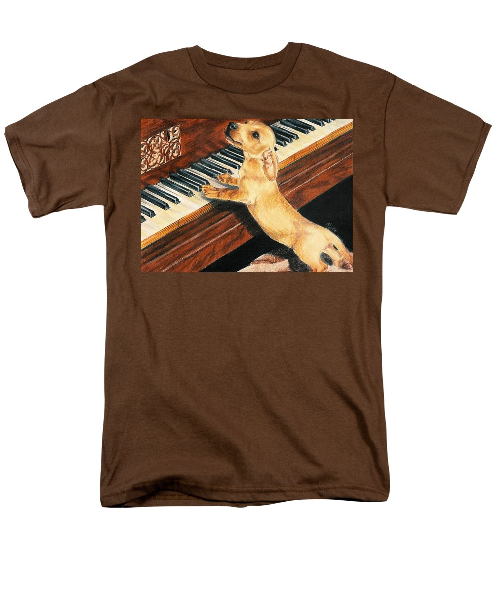 Dogs Men's T-Shirt (Regular Fit) featuring the drawing Mozart's Apprentice by Barbara Keith