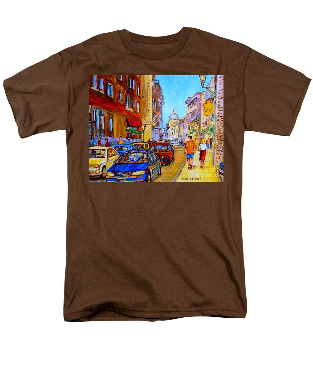 Old Montreal Street Scenes Men's T-Shirt (Regular Fit) featuring the painting Old Montreal by Carole Spandau