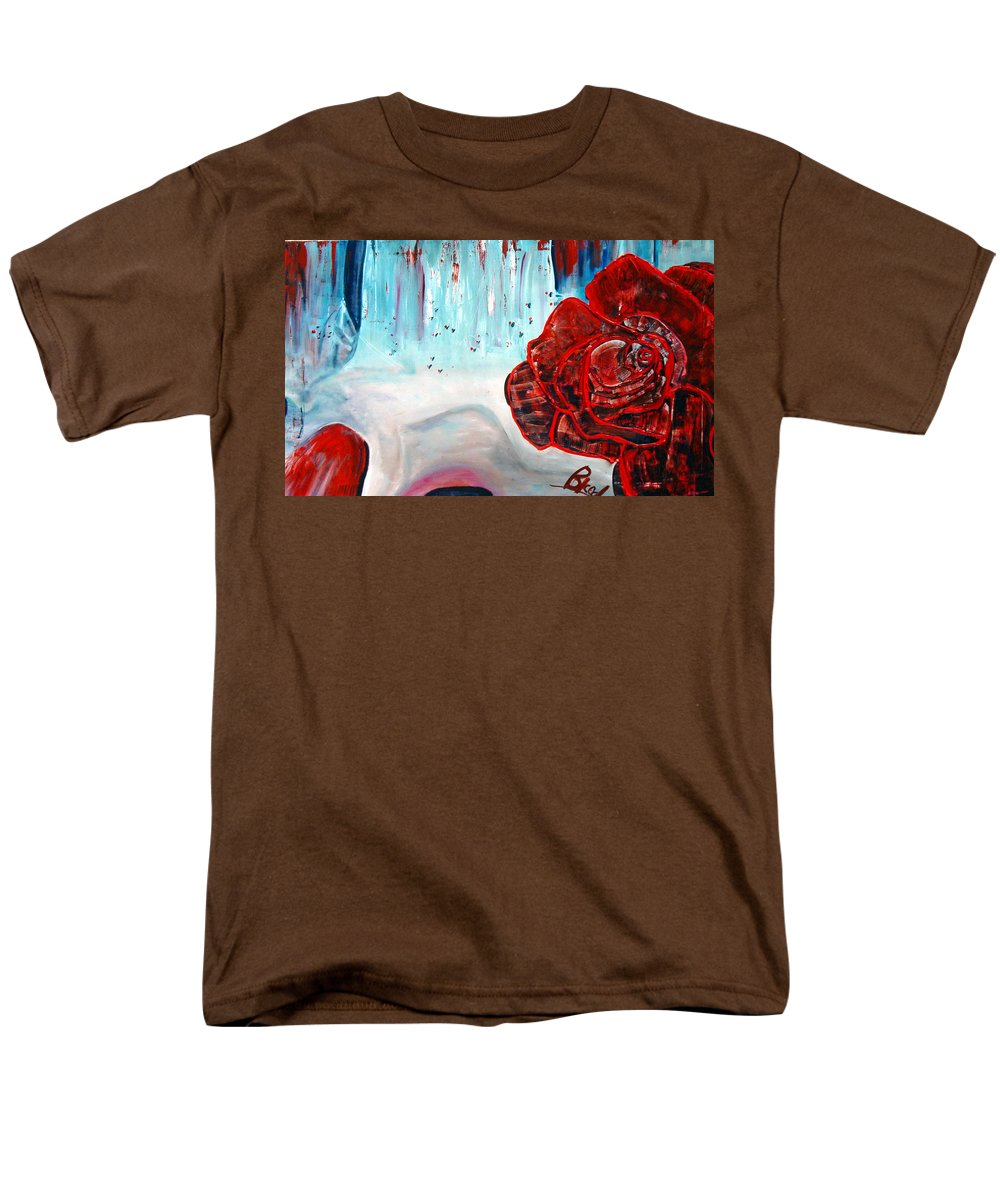 Landscape Men's T-Shirt (Regular Fit) featuring the painting OP and rose by Peggy Blood