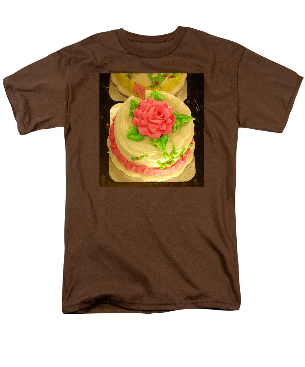 Food Men's T-Shirt (Regular Fit) featuring the painting Rose Cakes by Amy Vangsgard