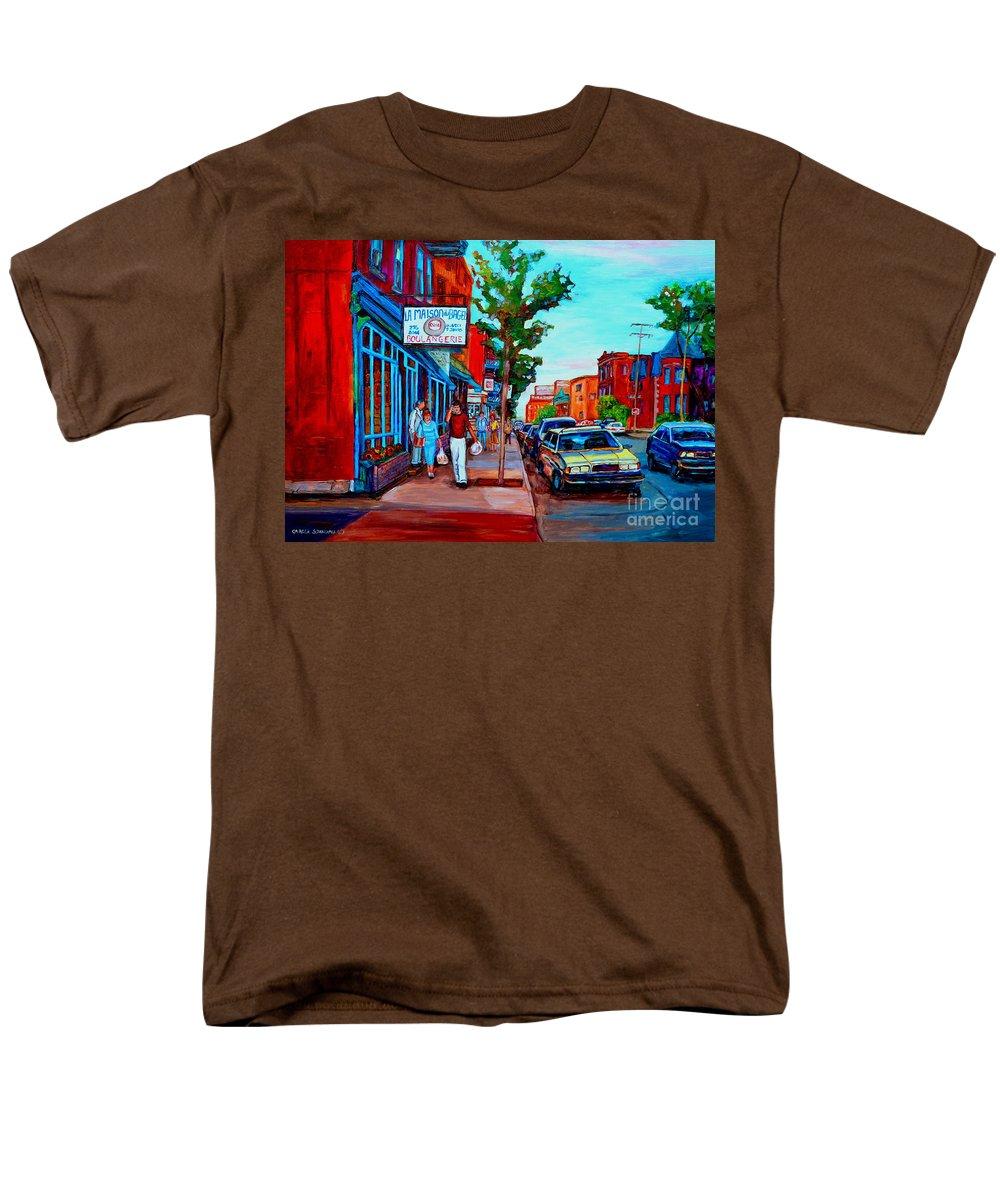 St.viateur Bagel Shop Men's T-Shirt (Regular Fit) featuring the painting Saint Viateur Bagel Shop by Carole Spandau
