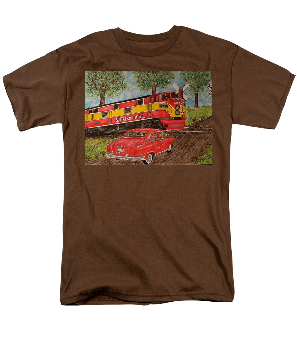 Southern Pacific Railroad Men's T-Shirt (Regular Fit) featuring the painting Southern Pacific Train 1951 Kaiser Frazer Car RR Crossing by Kathy Marrs Chandler