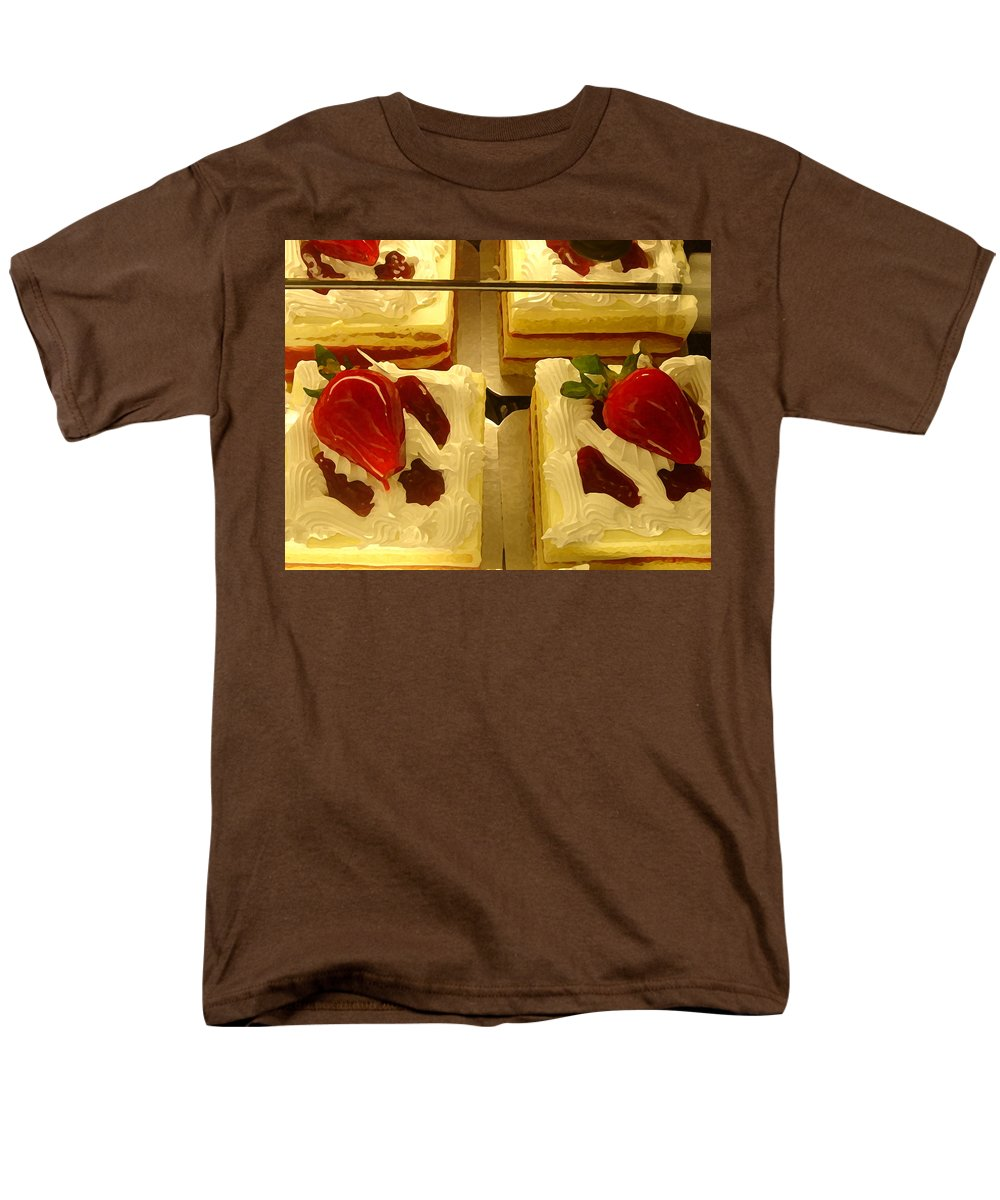 Kitchen Men's T-Shirt (Regular Fit) featuring the painting Strawberry cakes by Amy Vangsgard