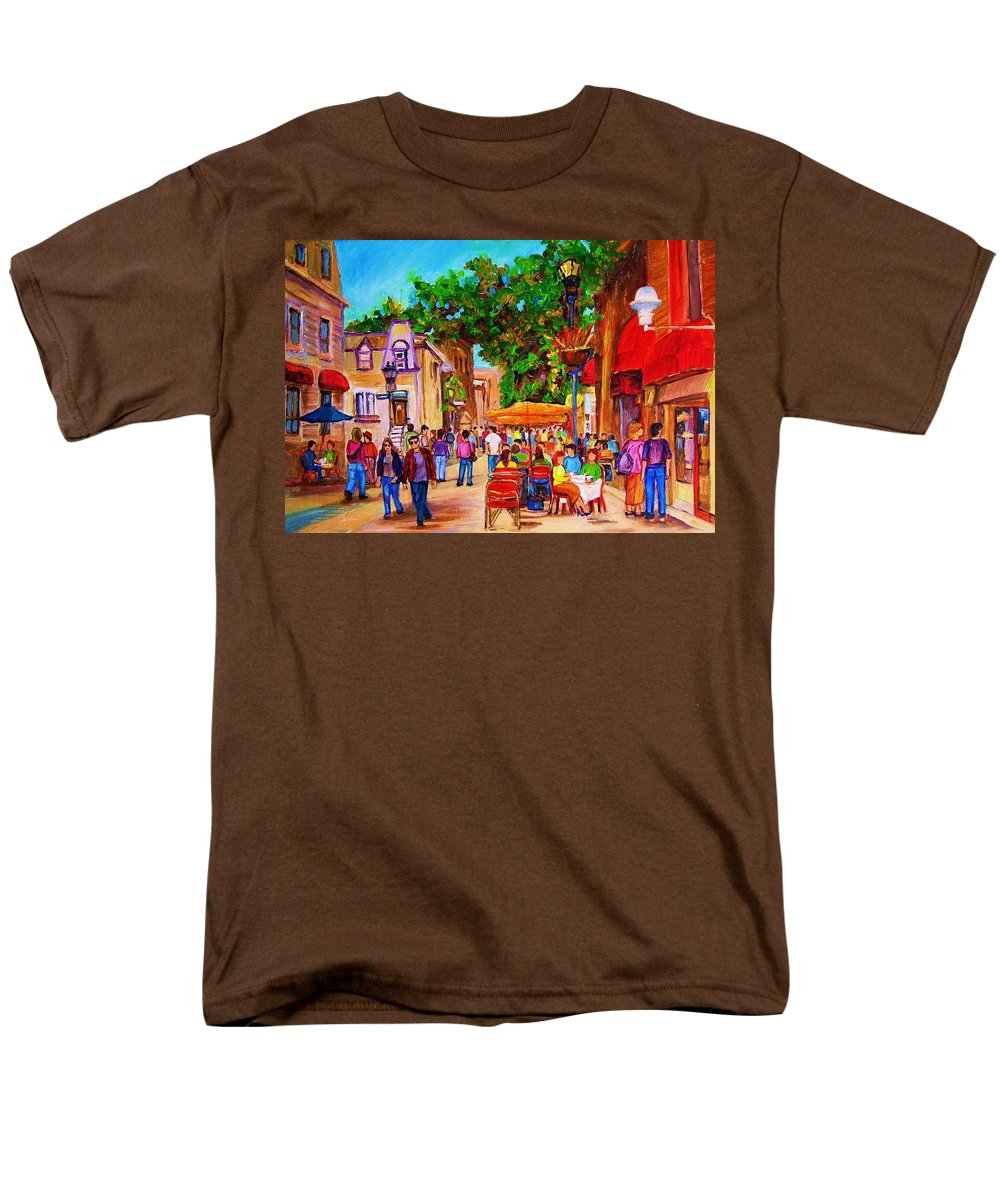 Summer Cafes Montreal Street Scenes Men's T-Shirt (Regular Fit) featuring the painting Summer Cafes by Carole Spandau