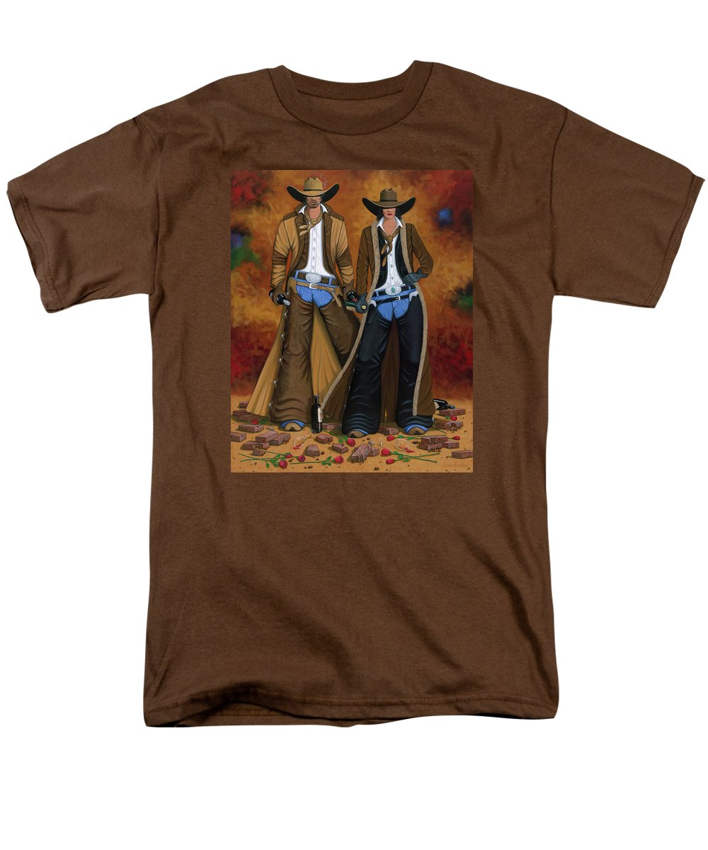 Cowgirl Men's T-Shirt (Regular Fit) featuring the painting Wine And Roses by Lance Headlee