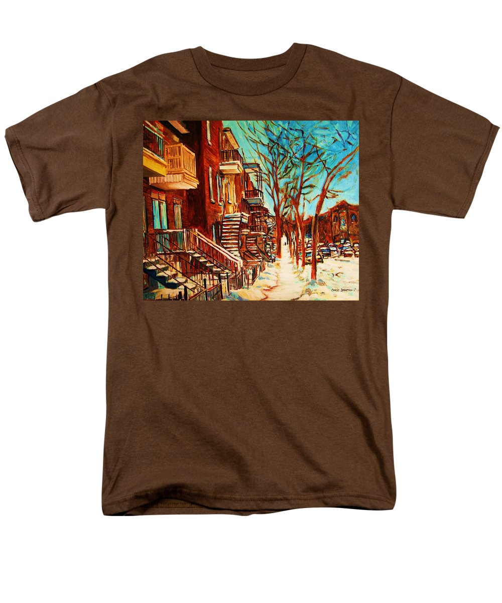 Verdun Paintings By Montreal Street Scene Artist Carole Spandau Men's T-Shirt (Regular Fit) featuring the painting Winter Staircase by Carole Spandau