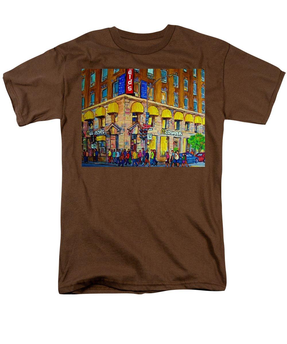 Mcdonald Restaurant Montreal Men's T-Shirt (Regular Fit) featuring the painting McDonald by Carole Spandau