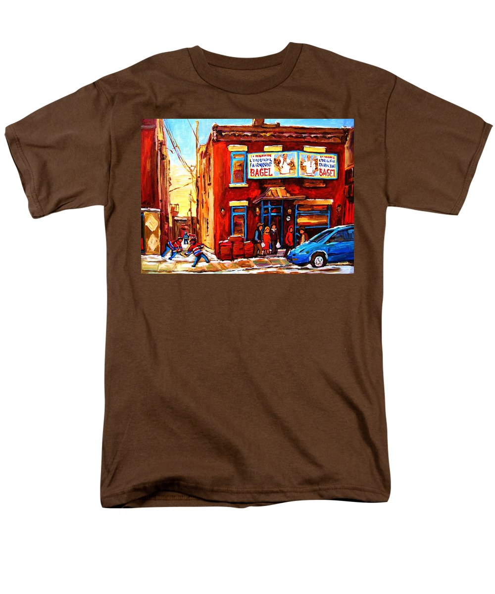Hockey Men's T-Shirt (Regular Fit) featuring the painting Fairmount Bagel in Winter by Carole Spandau