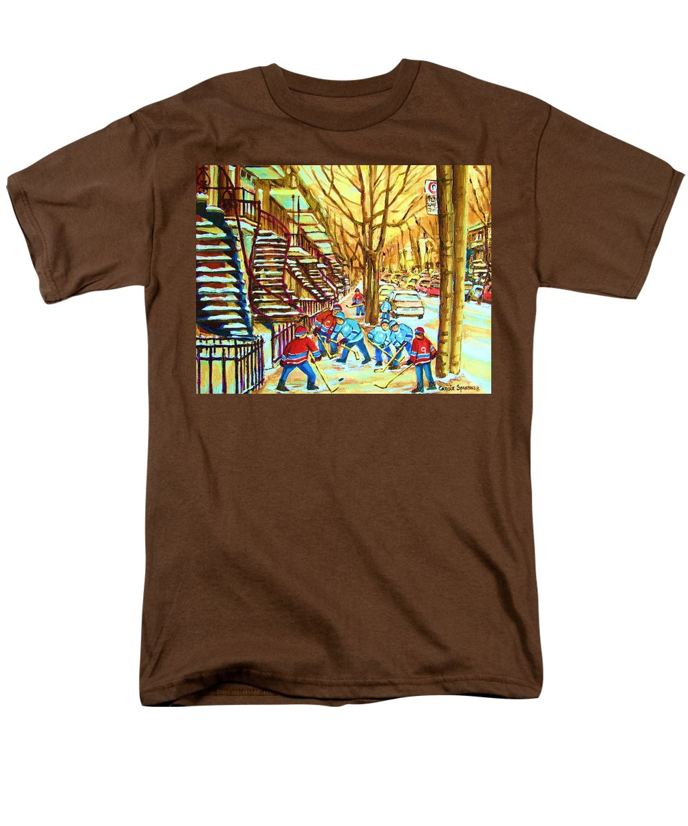 Montreal Men's T-Shirt (Regular Fit) featuring the painting Hockey Game near Winding Staircases by Carole Spandau