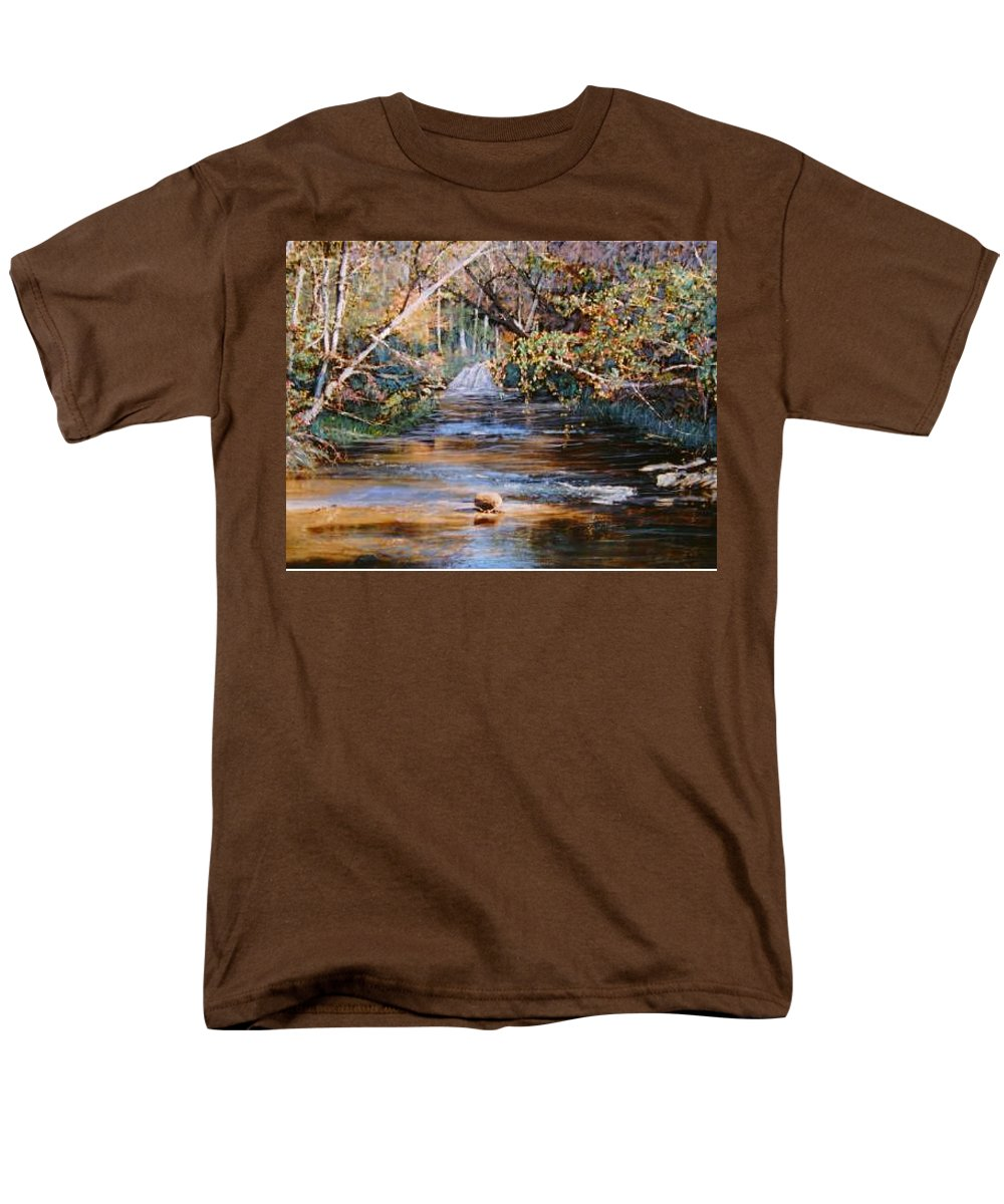 River; Waterfalls Men's T-Shirt (Regular Fit) featuring the painting My Secret Place by Ben Kiger