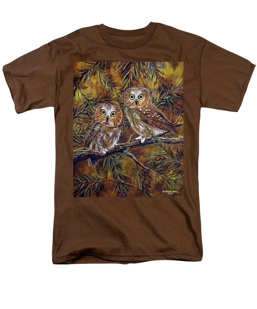 Owls Men's T-Shirt (Regular Fit) featuring the painting Branch Buddies by David G Paul