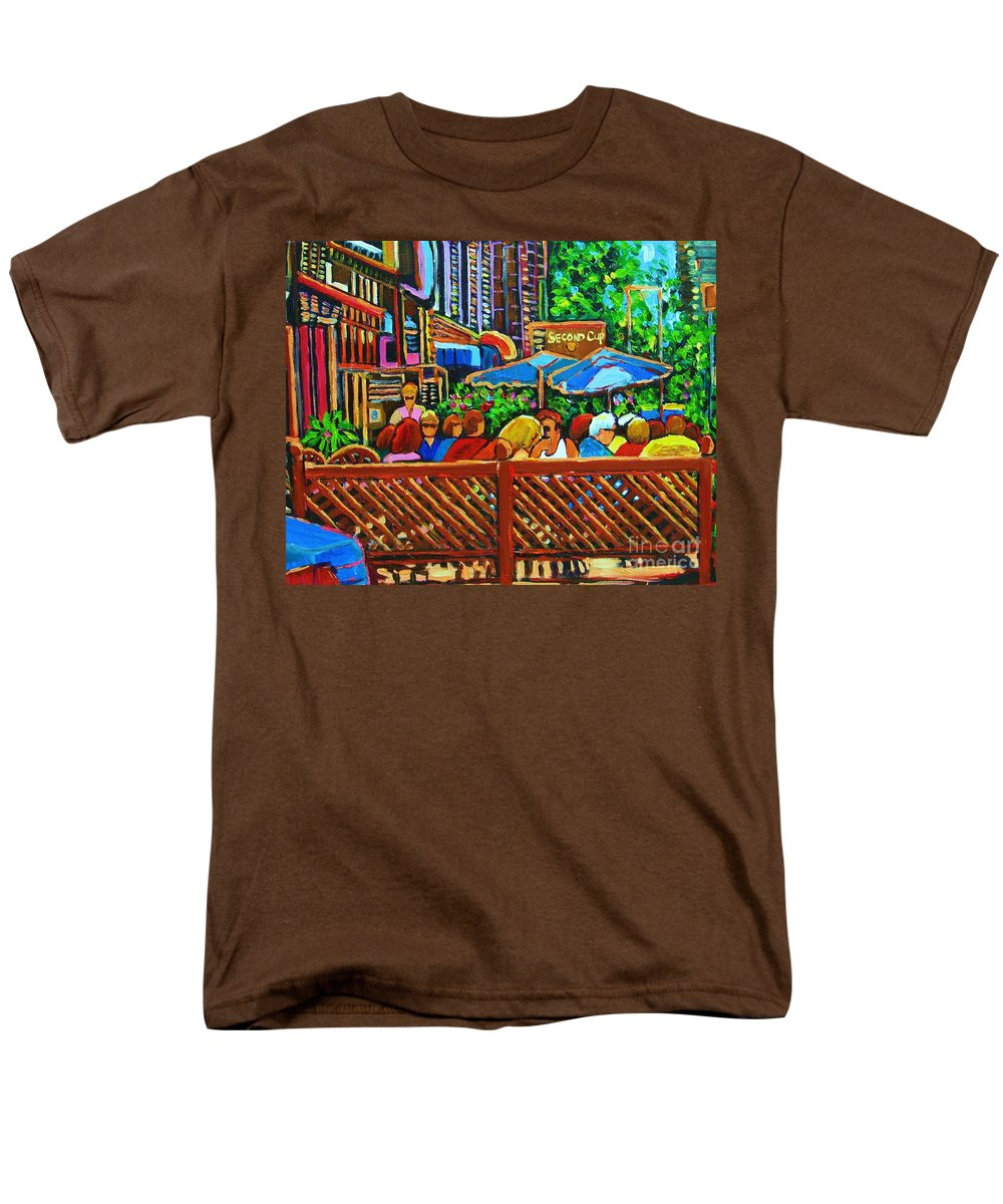 Cafes Men's T-Shirt (Regular Fit) featuring the painting Cafe Second Cup by Carole Spandau