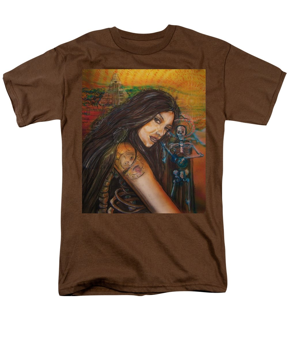 Skeleton Men's T-Shirt (Regular Fit) featuring the painting Cantando A Nuestros Pecados by Americo Salazar