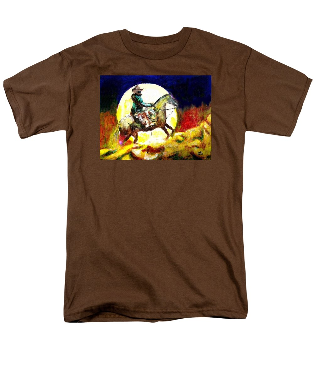Canyon Moon Men's T-Shirt (Regular Fit) featuring the painting Canyon Moon by Seth Weaver