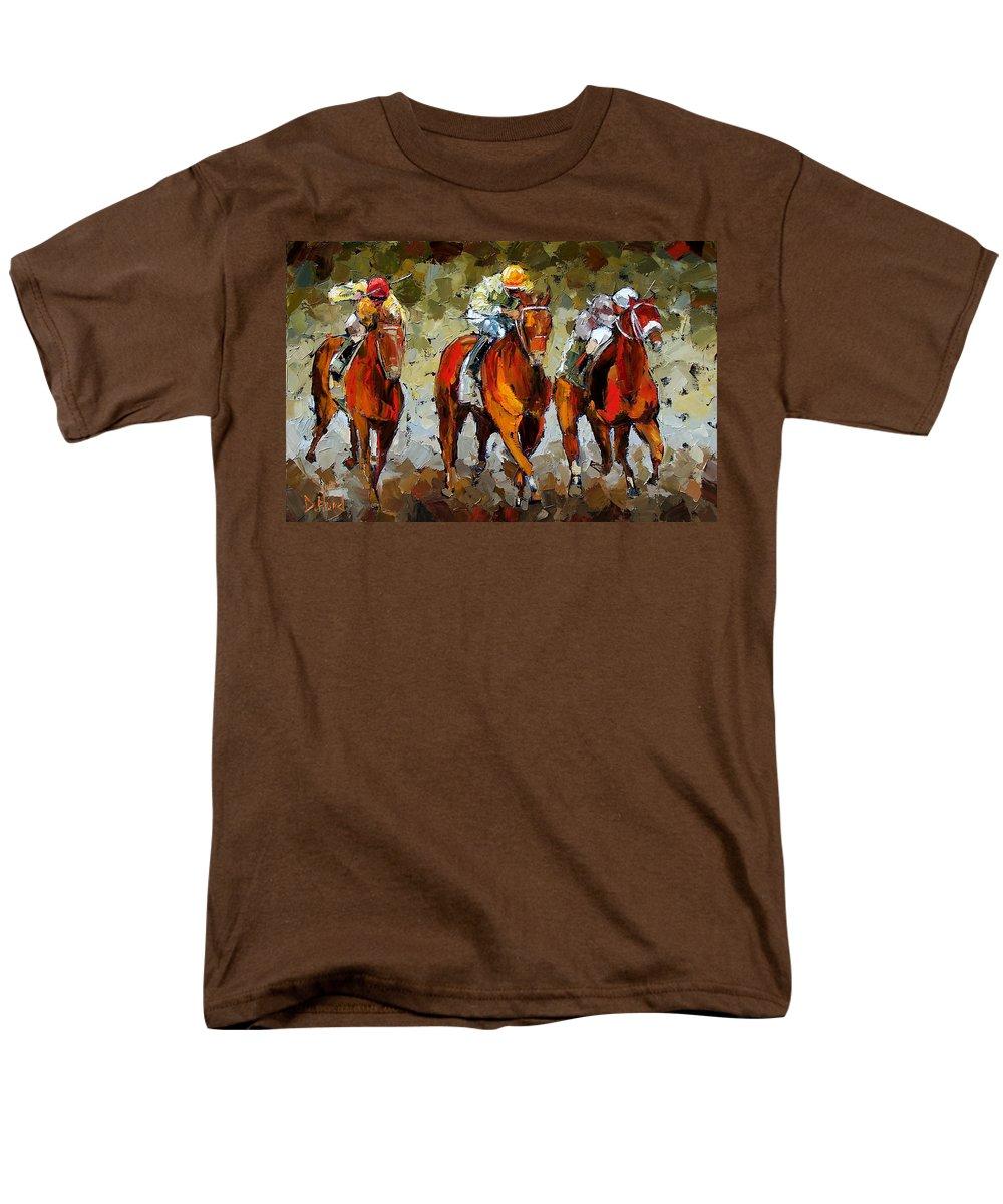 Horses Men's T-Shirt (Regular Fit) featuring the painting Close Race by Debra Hurd