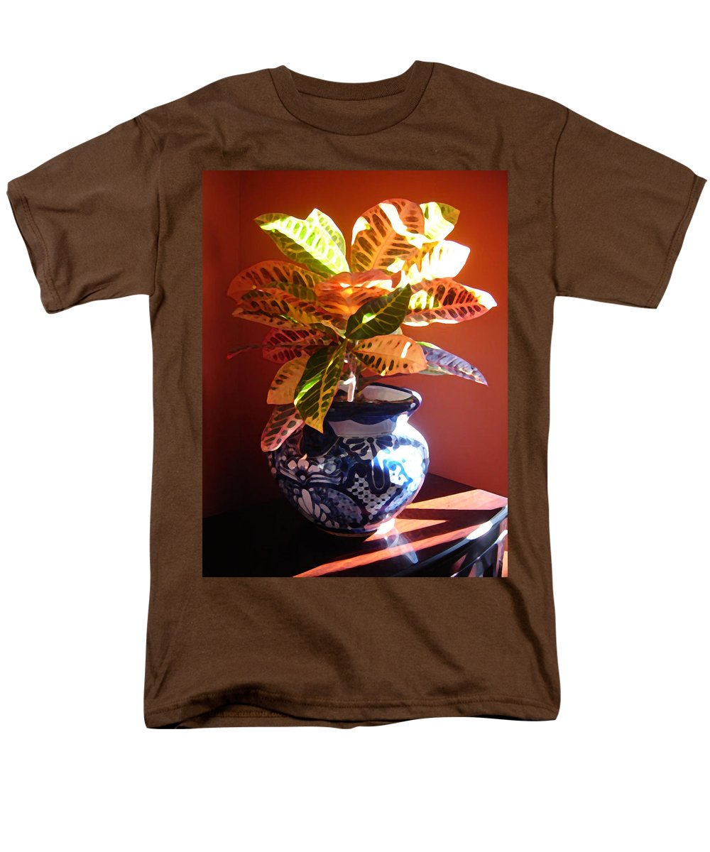 Potted Plant Men's T-Shirt (Regular Fit) featuring the photograph Croton in Talavera Pot by Amy Vangsgard