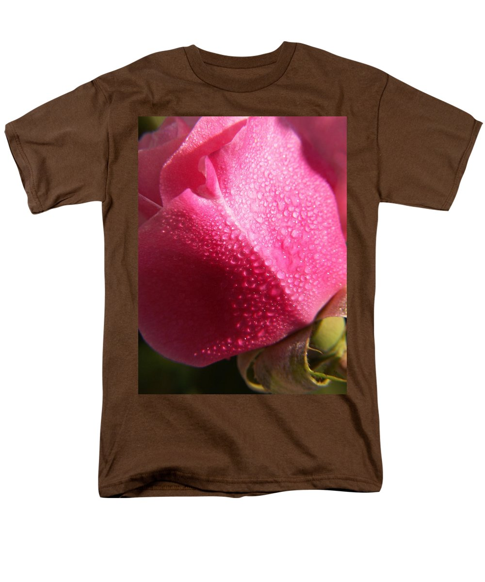 Pink Roses Men's T-Shirt (Regular Fit) featuring the photograph Dewy Rose by Amy Fose